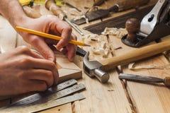 Funcionamiento del carpintero Imagen de archivo