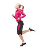Funcionamiento o salto deportivo de la mujer foto de archivo