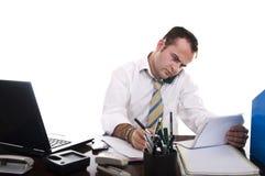 Funcionamiento ocupado del hombre de negocios Fotografía de archivo