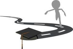 Funcionamiento para el casquillo de la graduación - birrete negro ilustración del vector