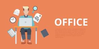 Funcionamiento plano del lugar de trabajo de la oficina de la bandera del resbalador del sitio web del vector stock de ilustración