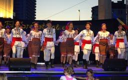 Funcionamiento rumano del grupo del folclore Imágenes de archivo libres de regalías