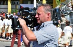 Funcionamiento video del operador de las noticias de la TV Fotos de archivo