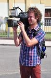 Funcionamiento video del operador de las noticias de la TV Imagenes de archivo