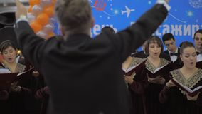 Funcionamiento vocal del coro Mosc?, Rusia almacen de metraje de vídeo