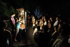 Funcionamientos chinos del juego de sombra de los niños Fotografía de archivo libre de regalías