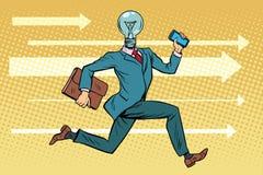 Funcionamientos de la bombilla del hombre de negocios, ideas del concepto y reunión de reflexión libre illustration