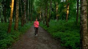 Funcionamientos de la mujer a través del bosque almacen de video