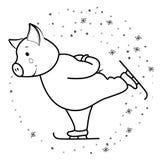Funcionamientos del cerdo en el símbolo 2019 de los patines fotos de archivo libres de regalías
