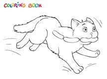 Funcionamientos del gato de la historieta del colorante lejos con las salchichas Vista abstracta de persianas Imagen de archivo libre de regalías