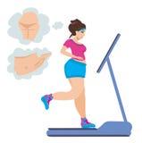 Funcionamientos obesos de la muchacha en una rueda de ardilla Imagen de archivo libre de regalías