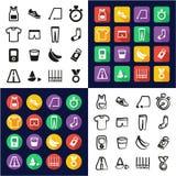 Funcionando con todos en los iconos uno negros y el diseño plano del color blanco fijado a pulso Imagen de archivo libre de regalías