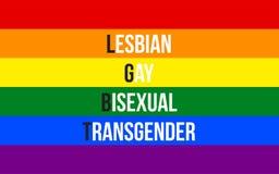 Funcionario Pride Flag de LGBT con la lesbiana de la abreviatura, gay, bisexual y el transexual stock de ilustración