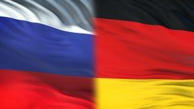 Funcionarios de Rusia y de Alemania que intercambian el sobre confidencial, fondo de las banderas ilustración del vector