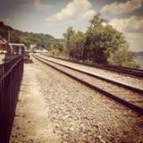 Funcione con el tren ausente Fotografía de archivo