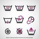 Funciones de la lavadora y símbolos de control eléctricos Fotos de archivo