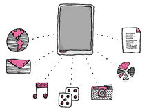 Funciones de la PC de la tableta del cojín/iconos de los usos Fotos de archivo