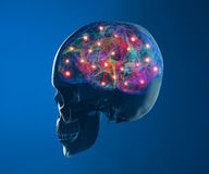 Funciones de la sinapsis de las neuronas del cerebro Imágenes de archivo libres de regalías