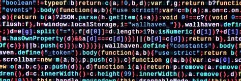 Funciones del Javascript, variables, objetos Supervise el primer del código fuente de la función Lugar de trabajo del especialist foto de archivo libre de regalías