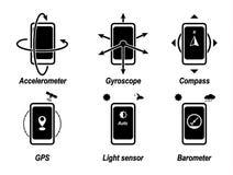 Funciones importantes del teléfono Icono negro del vector Imagenes de archivo