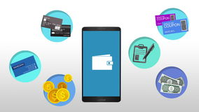 Function explanation for mobile wallet concept animation stock footage