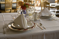 Function Place Settings. Place settings at a restaurant in a function room with american flag plate Stock Photos