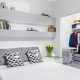 Functional bedroom with wardrobe Royalty Free Stock Images