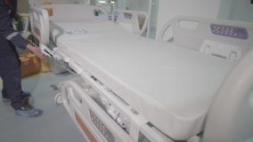 Functional Beds and Medical Devices in Modern Intensive Care Unit. Ultrasound machine in a modern operating laboratory stock video