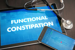 Functional constipation (gastrointestinal disease related) diagn. Osis medical concept on tablet screen with stethoscope Royalty Free Stock Photo