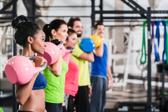 Functional fitness workout in sport gym stock image