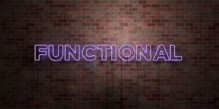 FUNCTIONAL - fluorescent Neon tube Sign on brickwork - Front view - 3D rendered royalty free stock picture. Can be used for online banner ads and direct stock illustration