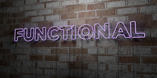 FUNCTIONAL - Glowing Neon Sign on stonework wall - 3D rendered royalty free stock illustration. Can be used for online banner ads and direct mailers royalty free illustration
