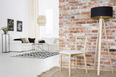 Functional loft with brick wall Stock Image