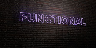 FUNCTIONAL -Realistic Neon Sign on Brick Wall background - 3D rendered royalty free stock image. Can be used for online banner ads and direct mailers stock illustration
