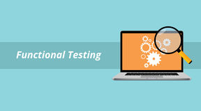 Functional testing with notebook or laptop with magnifying glass and text Stock Photo