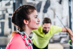Functional Training with chain and rings Stock Images