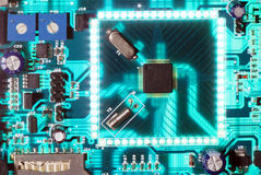 Electronic chip circuit board glowing