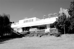 Functionalist villa Tugenthat in Brno in the Czech Republic. Europe in Black and White Royalty Free Stock Photo