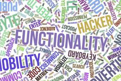 Functionality, conceptual word cloud for business, information technology or IT. Functionality, IT, information technology conceptual word cloud for for design Royalty Free Stock Photos