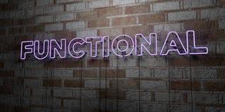 FUNCTIONEEL - Gloeiend Neonteken op metselwerkmuur - 3D teruggegeven royalty vrije voorraadillustratie royalty-vrije illustratie