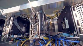 Functionerende die machines voor bitcoinmijnbouw in een mijnbouwinstallatie wordt gevestigd stock video