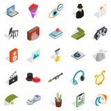 Functioning icons set, isometric style Royalty Free Stock Images