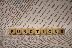 Functions - cube with letters and words from the computer, software, internet categories, wooden cubes. Wooden cubes with words from the computer, software Royalty Free Stock Images