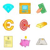 Fund icons set, cartoon style. Fund icons set. Cartoon set of 9 fund vector icons for web isolated on white background Royalty Free Stock Photos