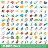 100 fund icons set, isometric 3d style. 100 fund icons set in isometric 3d style for any design vector illustration Stock Images