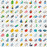 100 fund icons set, isometric 3d style Stock Photo