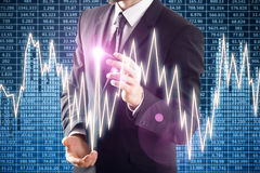 Fund management concept. Businessman drawing abstract colorful glowing forex chart. Fund management concept. 3D Rendering Stock Image