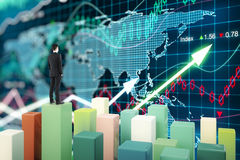 Fund manager forex chart. Fund manager standing on chart bars and looking at forex graph. 3D Rendering Royalty Free Stock Images