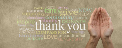 Fund Raising Campaign Website Header saying Thank You. Female cupped hands on parchment effect background with a word cloud surrounding the word Thank You for royalty free stock images