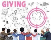 Fundação das doações que dá o conceito da caridade do bem-estar da ajuda foto de stock